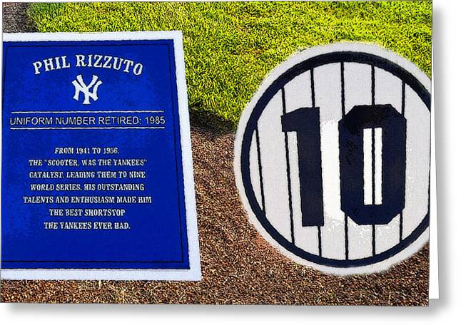Baseball Art Digital Art Greeting Cards - Yankee Legends number 10 Greeting Card by David Lee Thompson