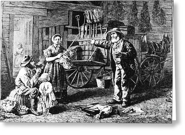 Peddler Greeting Cards - Yankee Peddler Greeting Card by Photo Researchers, Inc.