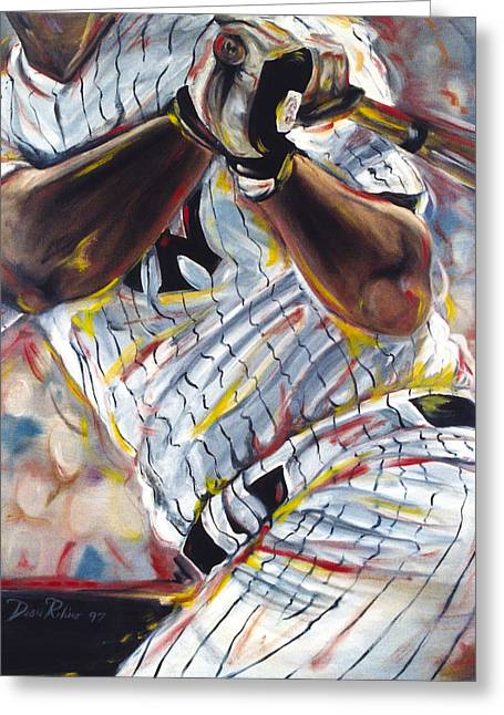 Baseball Paintings Greeting Cards - Yankee Greeting Card by Redlime Art