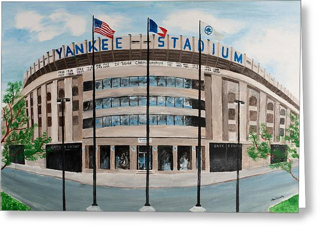 Baseball Stadiums Paintings Greeting Cards - Yankee Stadium Greeting Card by Paul Cubeta