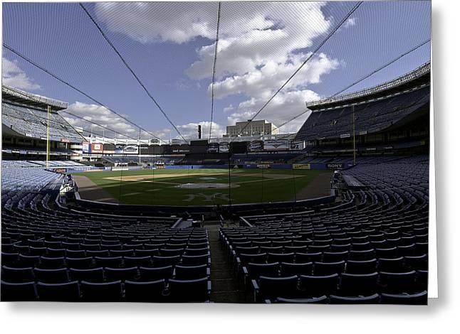 Baseball Stadiums Greeting Cards - Yankee Stadium  Greeting Card by Paul Plaine