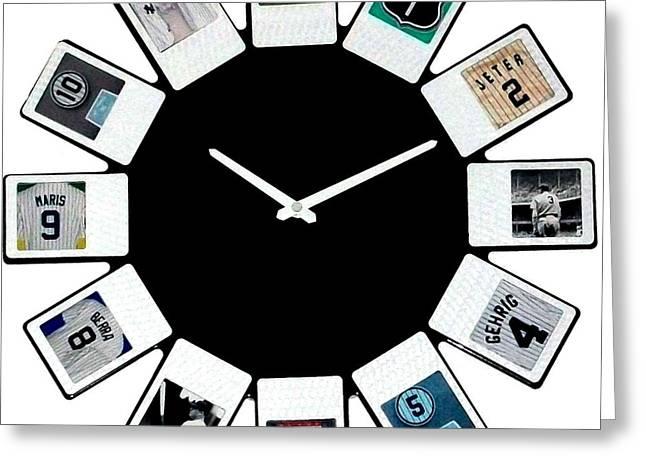 yankees Clock Greeting Card by Paul Van Scott