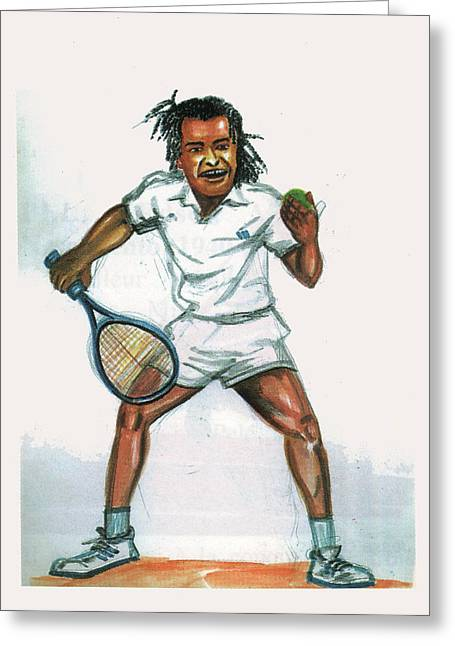 French Open Drawings Greeting Cards - Yannick Noah Greeting Card by Emmanuel Baliyanga