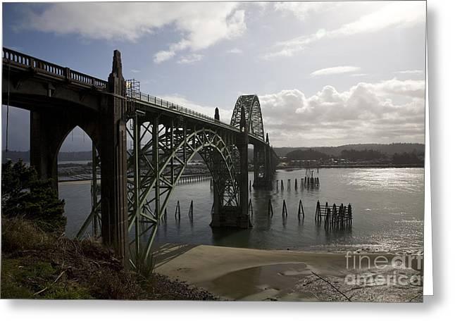 Yaquina Bay Bridge Greeting Cards - Yaquina Bay Bridge No. 2 Greeting Card by Timothy Johnson