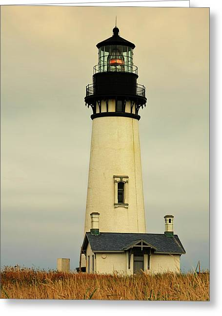 Hazy Days Greeting Cards - Yaquina Head Lighthouse - Newport OR Greeting Card by Christine Till