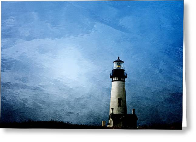 Twilight Greeting Cards - Yaquina Head Lighthouse Greeting Card by Carol Leigh
