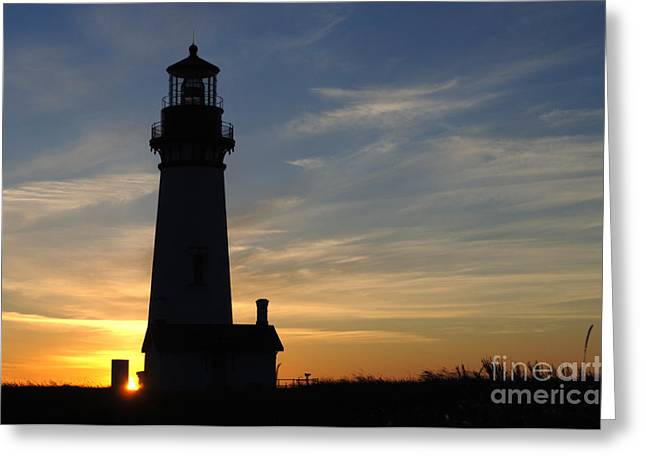 Yaquina Lighthouse Greeting Card by Bob Christopher