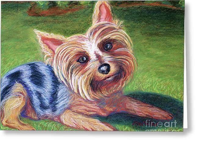 Terriers Pastels Greeting Cards - Yard Yorkie Greeting Card by D Renee Wilson