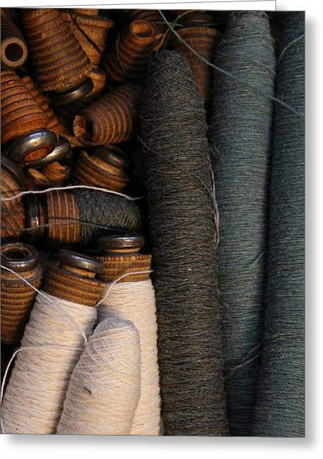 Textile Museum Greeting Cards - Yarn And Bobbins Greeting Card by Odd Jeppesen
