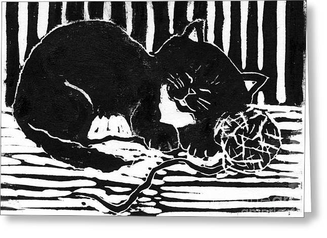 Linoleum Print Mixed Media Greeting Cards - Yarn Cat  block print Greeting Card by Ellen Miffitt