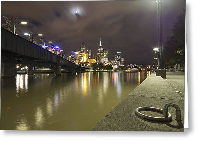 Lighted Pathway Greeting Cards - Yarra River-South Bank Melbourne Greeting Card by Douglas Barnard