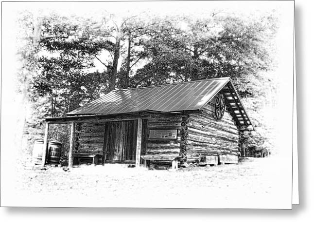 Old Cabins Greeting Cards - Yates Mill Cabin Black and White Greeting Card by Joe Granita