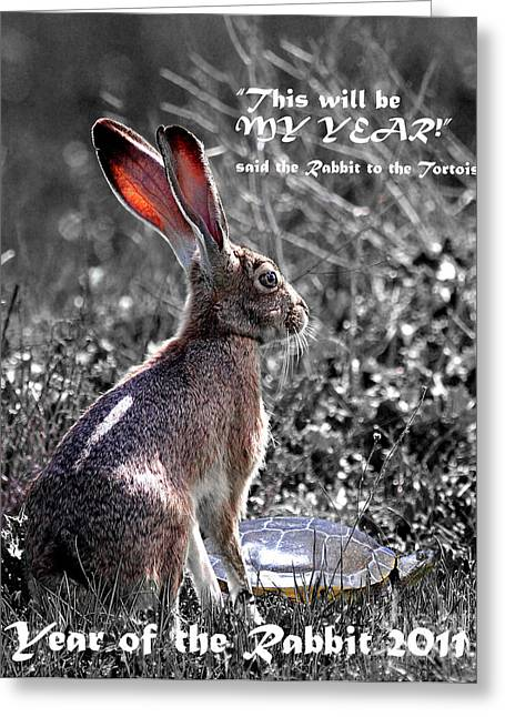Nursery Rhyme Digital Art Greeting Cards - Year of the Rabbit 2011 . Vertical bw Greeting Card by Wingsdomain Art and Photography