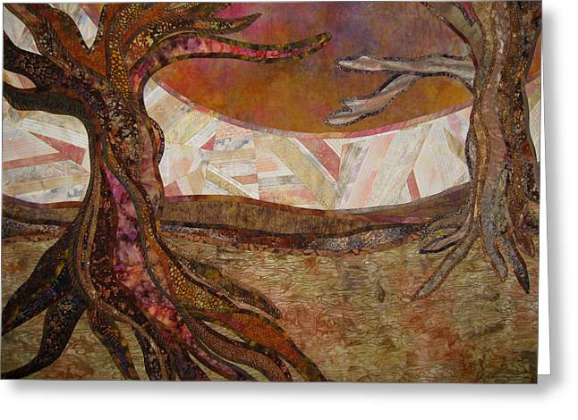 Earth Tapestries - Textiles Greeting Cards - Yearning Greeting Card by Doria Goocher