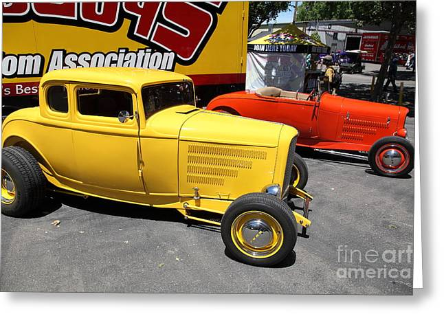 1932 Ford Greeting Cards - Yellow 1932 Ford Hot Rod . 5D16482 Greeting Card by Wingsdomain Art and Photography