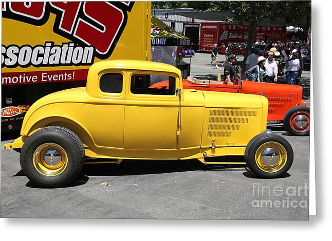 1932 Ford Greeting Cards - Yellow 1932 Ford Hot Rod . 5D16492 Greeting Card by Wingsdomain Art and Photography