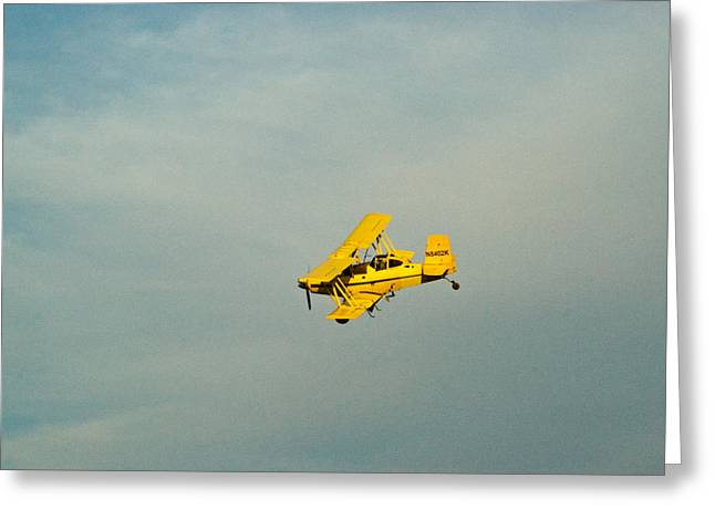 Crop Dusters Greeting Cards - Yellow Airplane Crop Duster Greeting Card by Douglas Barnett