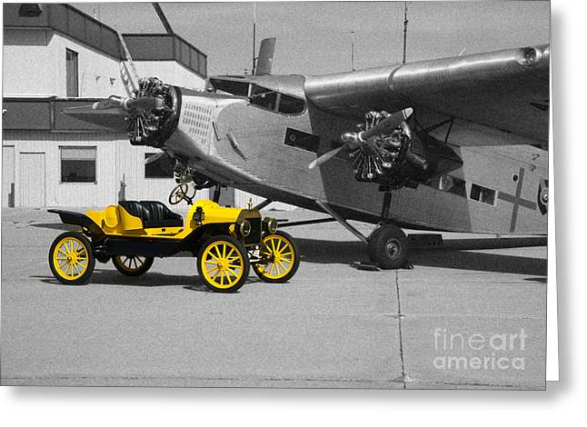 Ford Tri-motor Greeting Cards - yellow and Black and White Greeting Card by Michael Flood