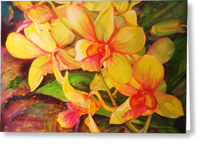 Reproducciones Tropicales Greeting Cards - Yellow and Fuchsia Orchids Greeting Card by Estela Robles