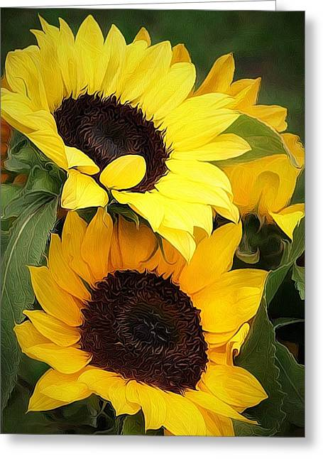 Yellow Sunflower Digital Greeting Cards - Yellow and Green Greeting Card by Cathie Tyler