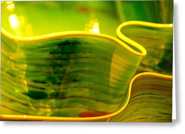 Art Blown Glass Photographs Photographs Photographs Greeting Cards - Yellow and Green Greeting Card by Artist and Photographer Laura Wrede