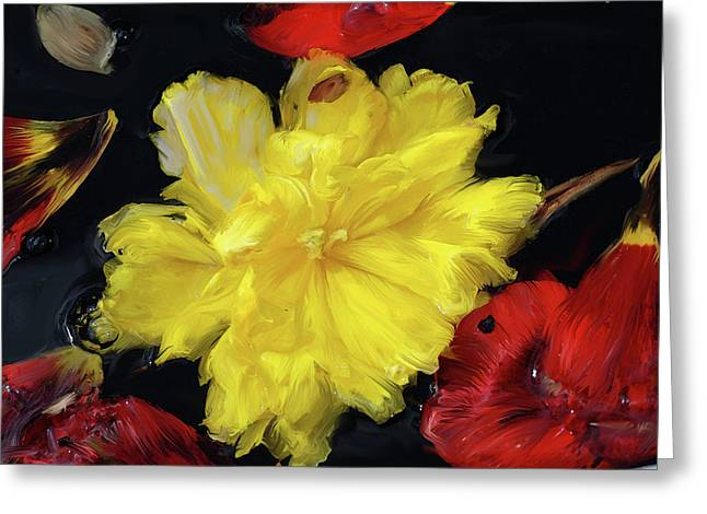 Green Ocean With White Water Greeting Cards - Yellow And Red Flower Painting  Greeting Card by Don  Wright