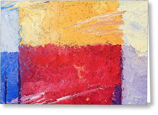 Square Format Paintings Greeting Cards - Yellow and Red Greeting Card by Lutz Baar