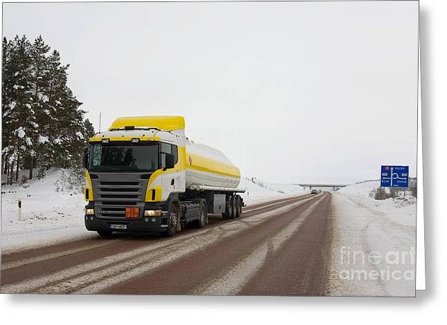 Snow Covered Street Greeting Cards - Yellow And White Fuel Tanker Truck Greeting Card by Jaak Nilson