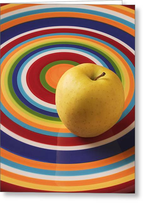 Fruits Photographs Greeting Cards - Yellow Apple  Greeting Card by Garry Gay