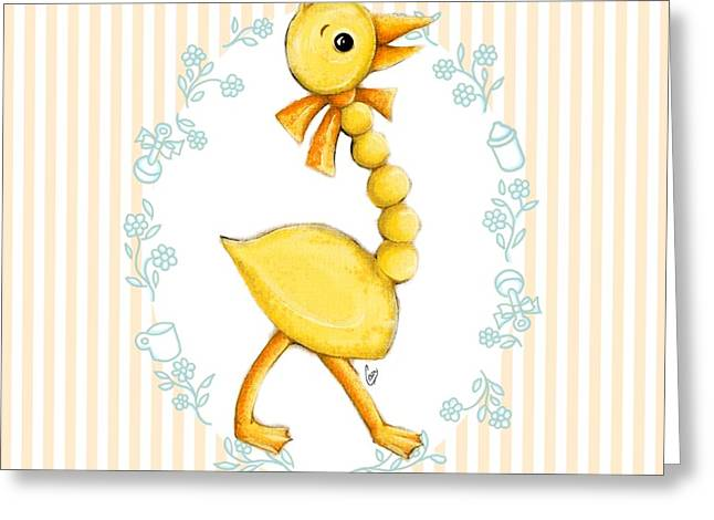 Ducklings Greeting Cards - Yellow Baby Duck Greeting Card by Cindy Garber Iverson