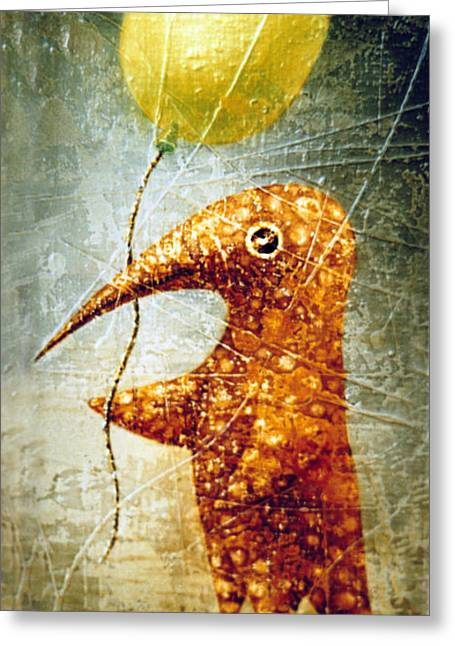 Birdman Greeting Cards - Yellow Balloon Greeting Card by Lolita Bronzini