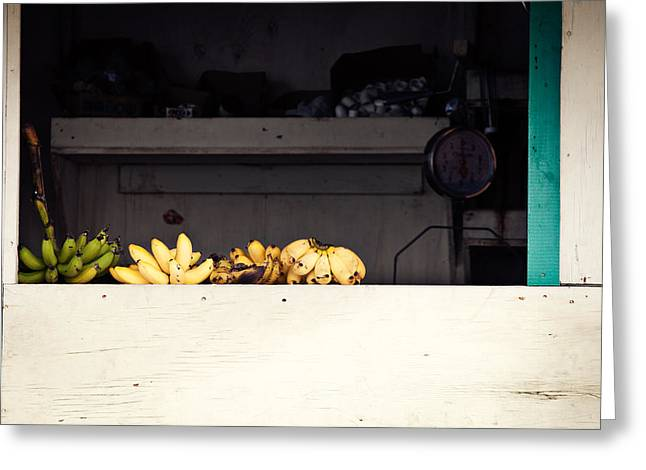 Ledge Photographs Greeting Cards - Yellow bananas on a ledge in the Caribbean Greeting Card by Anya Brewley schultheiss