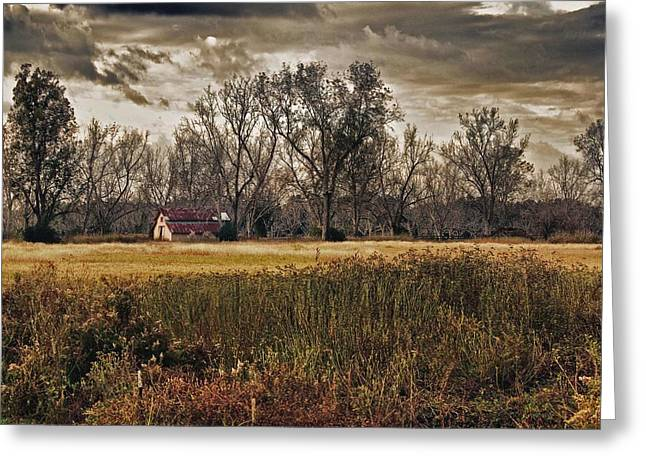 Crimson Tide Greeting Cards - Yellow Barn and the Field Greeting Card by Michael Thomas