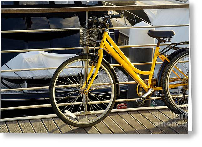 Yellow Bicycle Greeting Card by Carlos Caetano