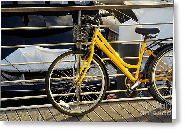 Yellow Bicycle Greeting Card by Carlos Caetano