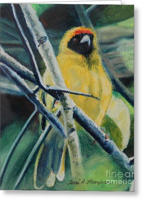 Yellow Leaves Pastels Greeting Cards - Yellow Bird Greeting Card by Terri Thompson