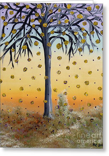 Yellow-blossomed Wishing Tree Greeting Card by Alys Caviness-Gober