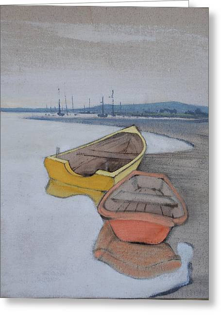 Amy Bernays Greeting Cards - Yellow Boat 1 Greeting Card by Amy Bernays