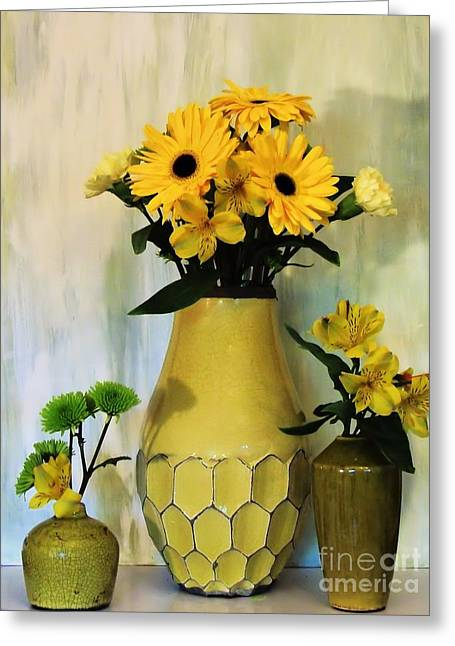 Large Poster Greeting Cards - Yellow Bouquets Greeting Card by Marsha Heiken