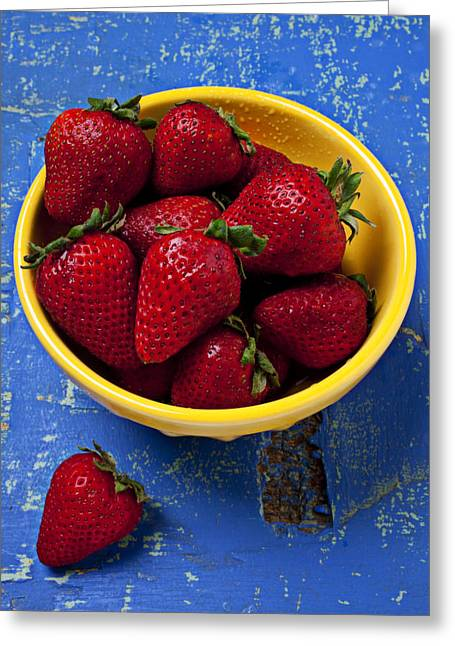 Strawberry Greeting Cards - Yellow bowl of strawberries Greeting Card by Garry Gay