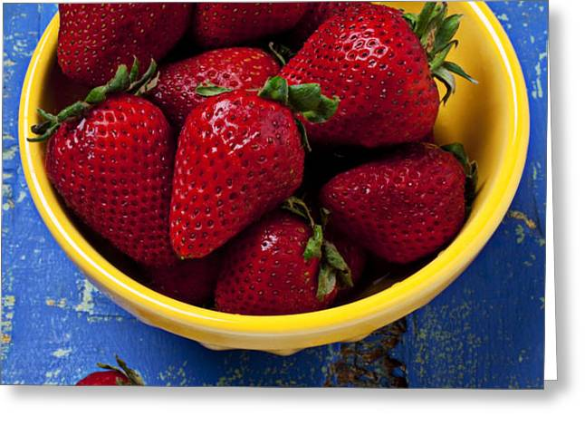 Yellow bowl of strawberries Greeting Card by Garry Gay