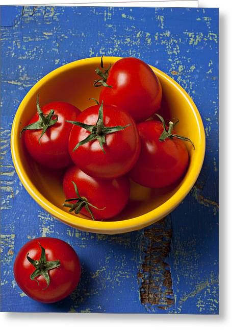 Wooden Table Greeting Cards - Yellow bowl of tomatoes  Greeting Card by Garry Gay