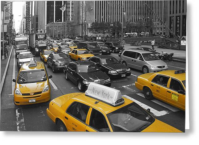 Traffic Greeting Cards - Yellow Cabs NY Greeting Card by Melanie Viola