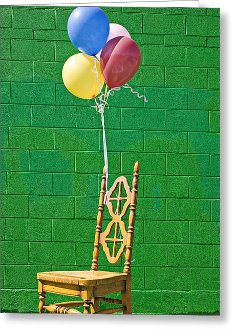 Balloon Greeting Cards - Yellow cahir with balloons Greeting Card by Garry Gay