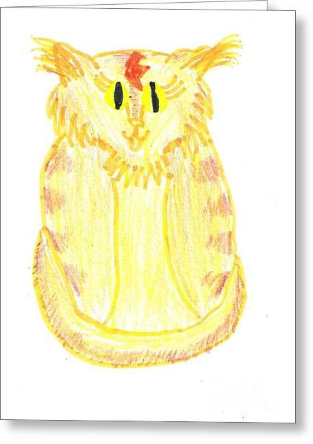 Jordan Drawing Drawings Greeting Cards - Yellow Cat Greeting Card by Jeannie Atwater Jordan Allen