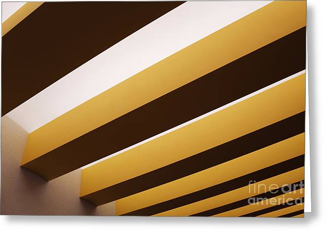 Yellow Line Greeting Cards - Yellow Ceiling Beams Greeting Card by Jeremy Woodhouse
