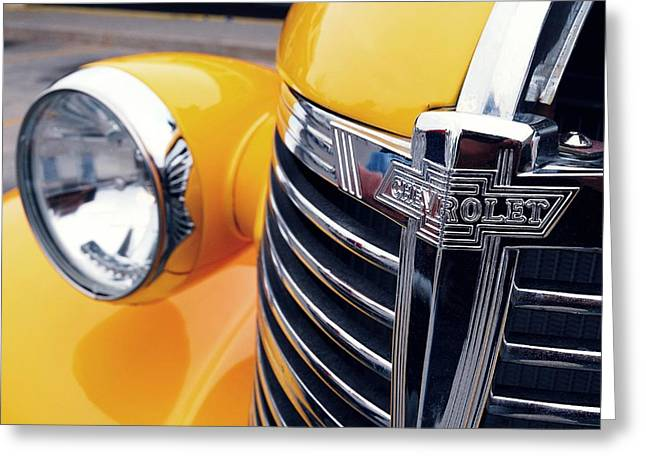 Childrens Sports Greeting Cards - Yellow Chevy Greeting Card by Steven Milner