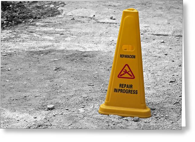 Safety Cones Greeting Cards - Yellow cone. Greeting Card by Fernando Barozza