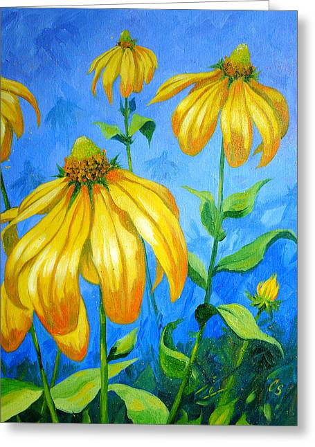 Yellow Coneflower Greeting Cards - Yellow Cones Greeting Card by Chris Steinken