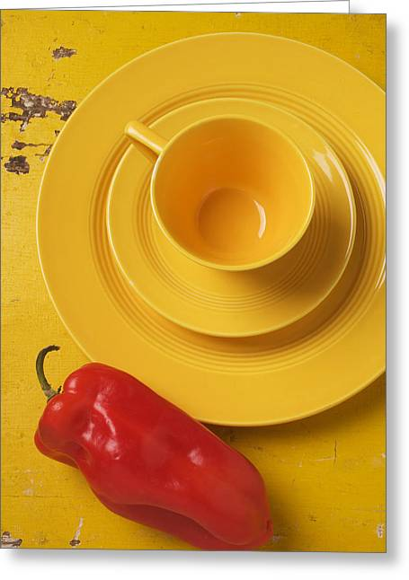 Yellow Pepper Greeting Cards - Yellow Cup And Plate Greeting Card by Garry Gay